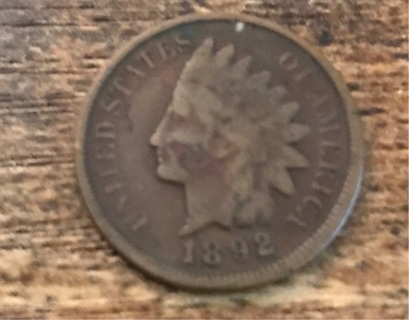 1892 Indian Head Penny Coin