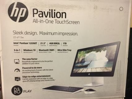 """NEW^ HP PAVILLION 22-A113W ALL-IN-ONE TOUCHSCREEN 21.5"""" 2.9GHz 4GB 1TB!  (PLEASE READ LISTING)"""