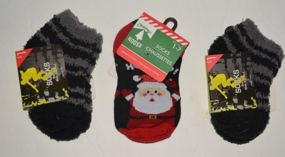 Three - Pairs of Boys Socks Size 2-4 Toddler  Shoe Size 4-7 NEW!! Good For Christmas