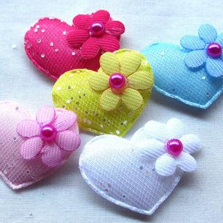 60PCS 32mm Padded Felt Sweet Heart Flower Appliques Craft Mix