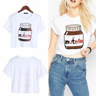 Kawaii Woman Harajuku Casual Fashion Nutella Print Tees Crop Tops Short T-Shirt