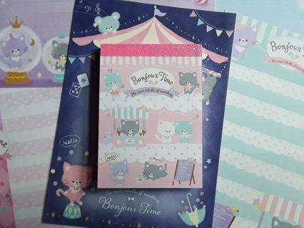 "Q-Lia ""Bonjour Time"" Mini-Memo Pad & 6 Matched, LG. Memo Sheets ☆Kawaii Bonus☆"