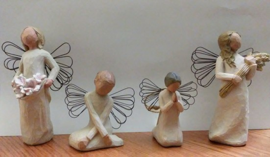4 Willow Tree Angels, Serenity, Angel Of Prayer, Autumn, Spring