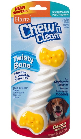 NEW Hartz Chew n Clean Twisty Bone for Small/Medium Dogs -Bacon Flavored- Dog Chew Toy