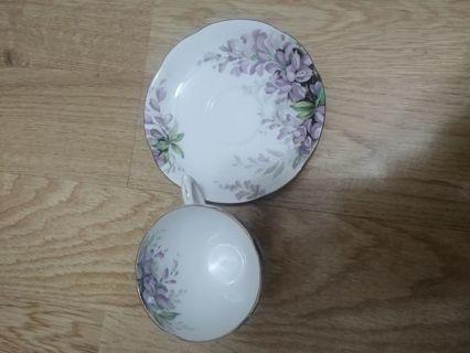 WISTARIA ROYAL STANDARD BONE CHINA teacup/saucer