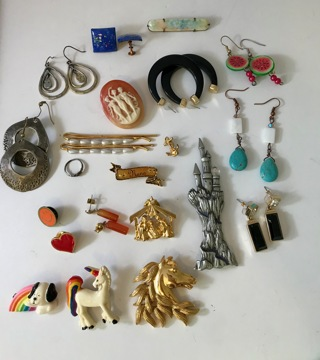 Valuable Lot of Vintage Jewelry Including Napier, Banana Republic, Hallmark, Antiques