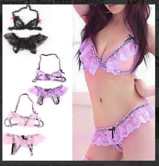 NEW Sexy Lady Womens Lace Lingerie Hot Frilly Crotch Less Underwear 2 - Piece