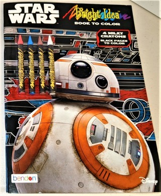 2018 STAR WARS Bright Idea coloring book - 48 black pages + 4 milky crayons - New/unused