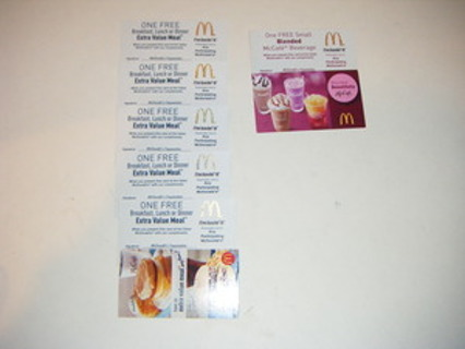 5 Mcdonalds FREE Extra Value Meal Coupon Cards NO PUIRCHASE NECESSARY LOW GIN W/ BONUS! 46$ VALUE!