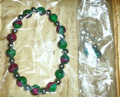 NEW! Marble Green Bracelet/Ear Rings Set! (#BE-GrnMrb-002)