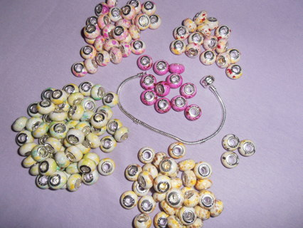 5pcs✿925 Stamped Core✿BEADS Random Acrylic Beads