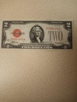 Nice shape 1928D 2 dollar red seal