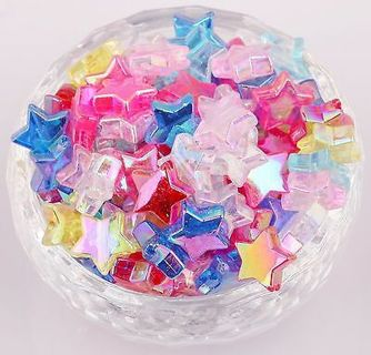 100Pcs AB Mixed Color Star Acrylic Spacer Loose Beads DIY Jewelry Pentacle 11m