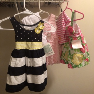 All brand new dresses sizes are 18/2t