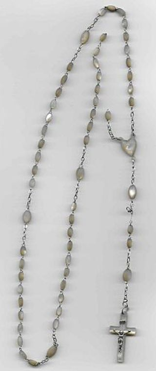 ANTIQUE Mother of Pearl ROSARY MOP Hand Carved Beads