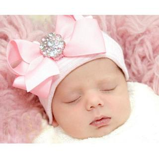 DreamShining Cute Bowknot Baby Hat Cotton Infant Newborn Photography Props Knitted Striped Baby Gi