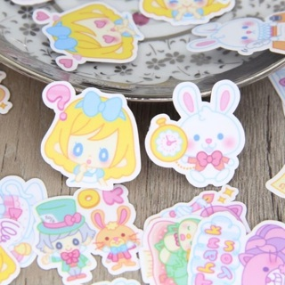 ✶ Cartoon Pastel Alice in Wonderland High End Kawaii Sticker Flakes set of 10 ✶