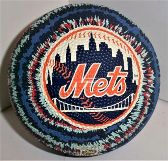 "2010 MLB NY Mets inflated hollow rubber ball by Good Stuff Made in China - 5"" diameter  VG condition"