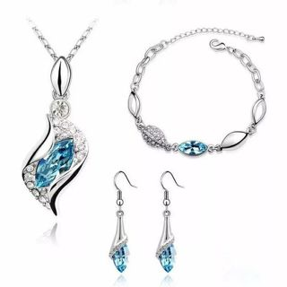 Elegant Luxury Design New Fashion Gold Filled Colorful Austrian Crystal Drop Jewelry Sets