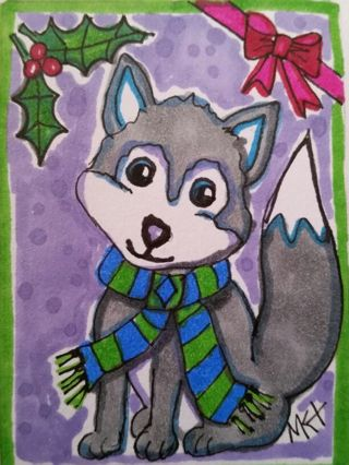 Holiday Husky - #146♡ Original Drawing by MK ATC / ACEO ☆print enhanced with gel pens