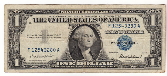 Free: Silver Certificate U.S. One Dollar Bill Series 1957 - Coins ...