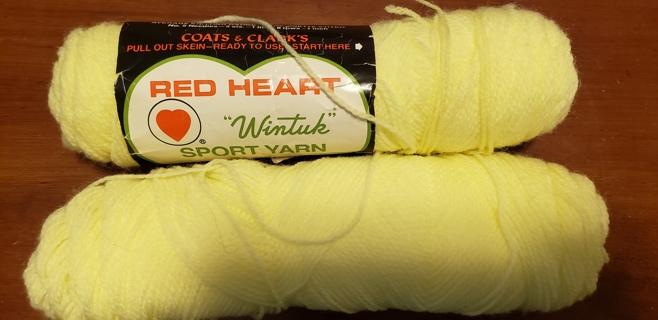 """NEW - Red Heart Sport Yarn - """"Baby Yellow"""" plus BONUS"""