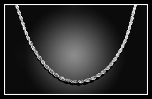 """USA! Luxury Solid STERLING 925 SILVER 3mm Diamond-Cut ROPE Chain Necklace 26"""", NEW in Gift Box!"""