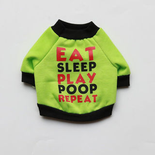Free: Green Eat Sleep Play Pet Clothes Dog Coat Apparel Sweater