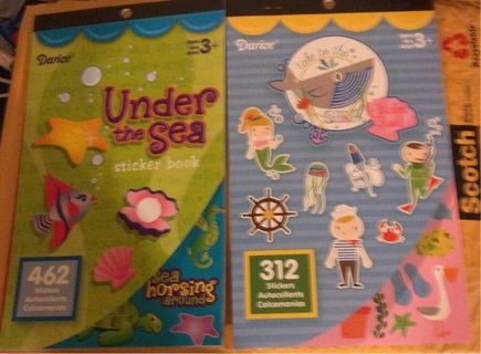 Brand New: Set #2-Two Books Of Multiple Stickers! Under The Sea & Take To The Sea. Nearly 800Total!!