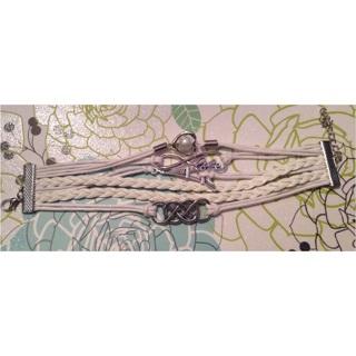 5 white faux leather strand bracelet