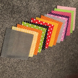"50 pcs: 4"" x 4"" fabric: florals, dots, stripes, more..."
