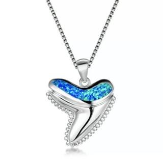 Blue Fire Opal Shark Tooth Necklace