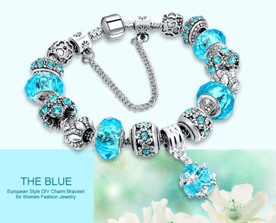 European Charm Beads Bracelet & Bangle Authentic Crystal Chain Bracelets for Women Girls