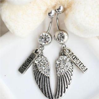 2pcs Jewelry Belly Button Best Friends Wings Dangle Navel Ring Body Piercing