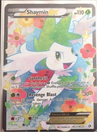 Shaymin EX pokemon card with sleeve