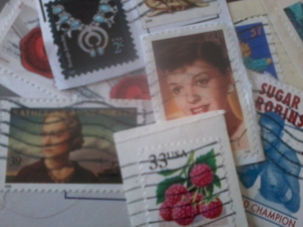 25 USED American Stamps