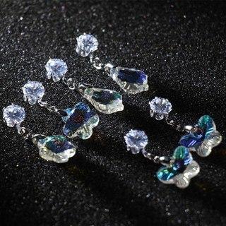 [GIN FOR FREE SHIPPING] Women Dangle Earrings Crystal Zircon Butterfly/Leaf/Flower Drop