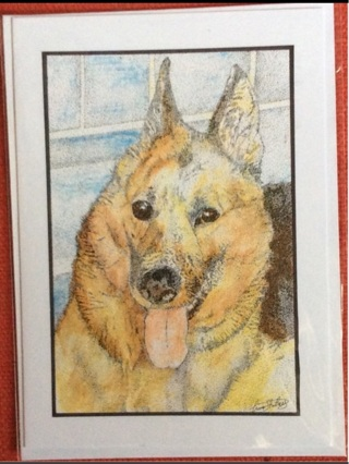 "GERMAN SHEPHERD - 5 x 7"" art card by artist Nina Struthers - GIN ONLY"