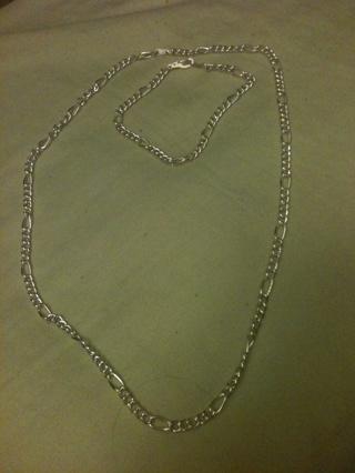 Silver necklace and bracelet