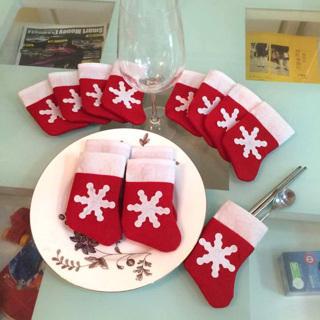 12 Pieces/Set Mini Christmas Stockings Dinnerware Cover Bags Xmas Tree Decor