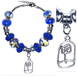"(NEW!) ""Asia Cobalt"" Euro Bracelet!{Beautiful FLOWER Charm!}"