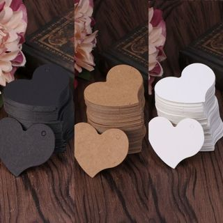 100Pcs Heart Shape Blank Kraft Paper Card Gift Tag Label