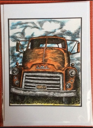 """RUSTY GMC TRUCK - 5 x 7"""" art card by artist Nina Struthers - GIN ONLY"""