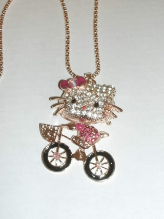 Kitty Necklace Riding a bike. Over-Size pendent, Long Chain