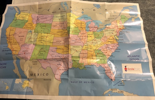 "Brand New 32"" x 22"" Map Of America. Display Flat or Keep Folded Until Wanted."