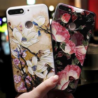 Rose Flowers Soft Black Blue Case For Huawei Y6 2018 Y6 Prime 2018 Case For Huawei Honor 7A Pro Ca