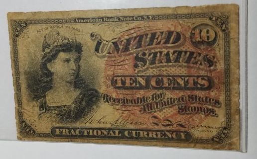 1869 Fractional Currency 10 Cents 4th Issue