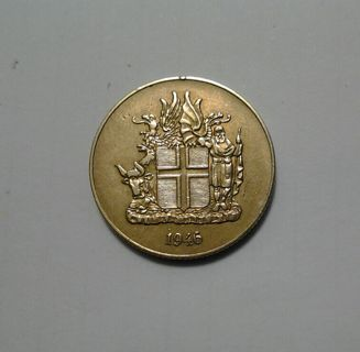 1946 Iceland 1 Krona *(1st Issue of Newly Established- Republic of Iceland)*(ONLY 1 Year Mintage)*