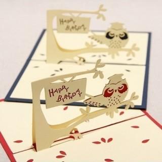 3D Pop Up Cards Owl Handmade Holiday Greeting Card Postcard Christmas Birthday