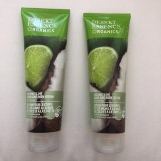 2 NEW Sealed Full Size Desert Essence Organics Coconut Lime Hand & Body Lotion • Free Ship